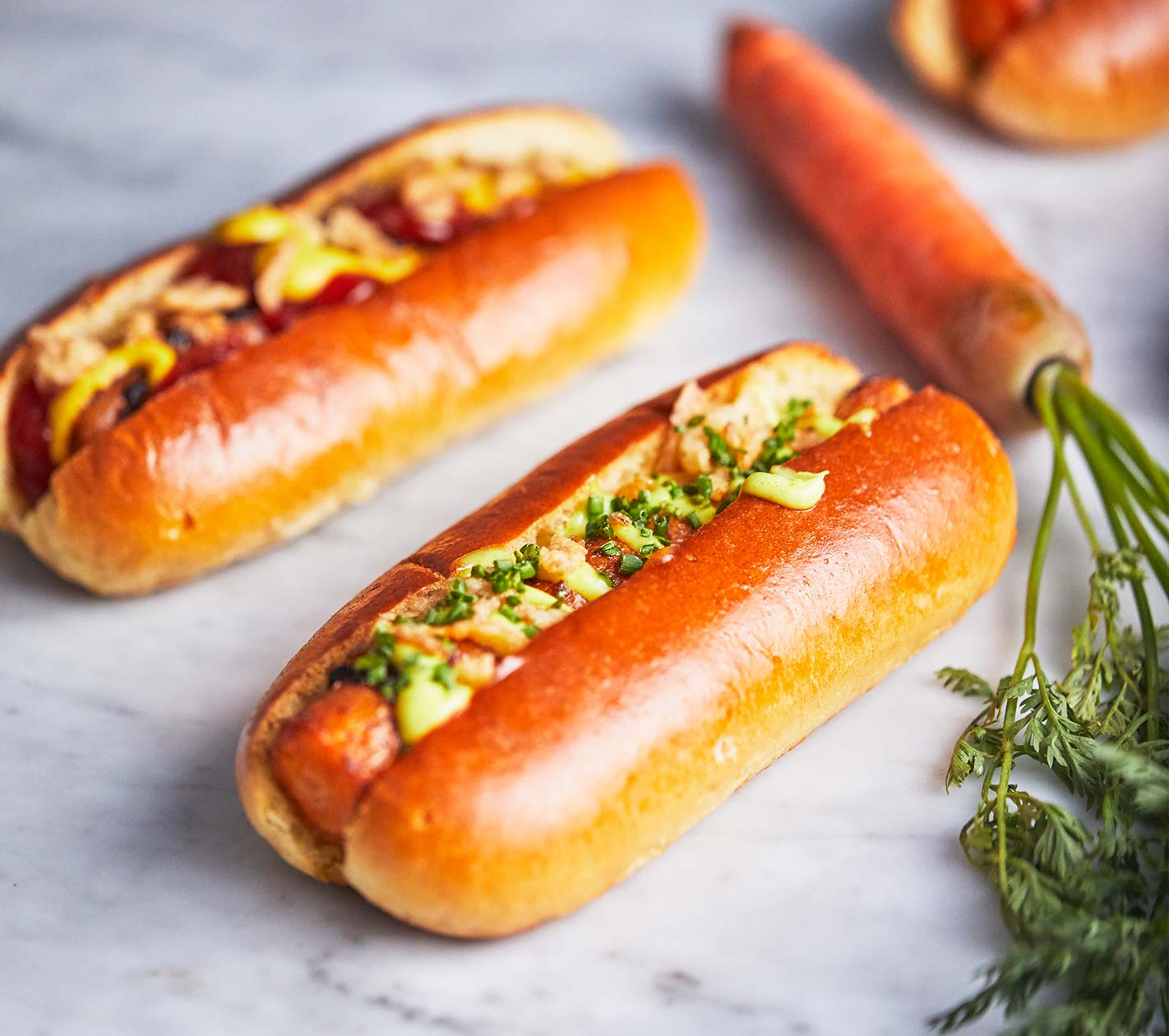 Carrot hot dogs are a vegetarian summer treat