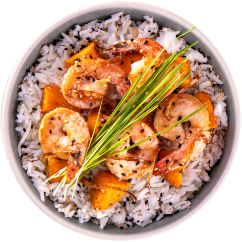 Garlic Shrimp with Sauteed Sweet Potato & UNCLE BEN'S® READY RICE® Jasmine Rice