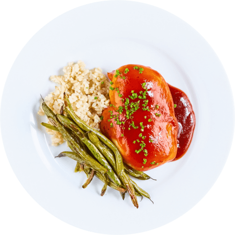 BBQ Chicken with Green Beans & UNCLE BEN'S® READY RICE® Whole Grain Brown