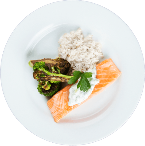 Tzatziki Salmon with Broccoli & UNCLE BEN'S® READY RICE® Basmati Rice