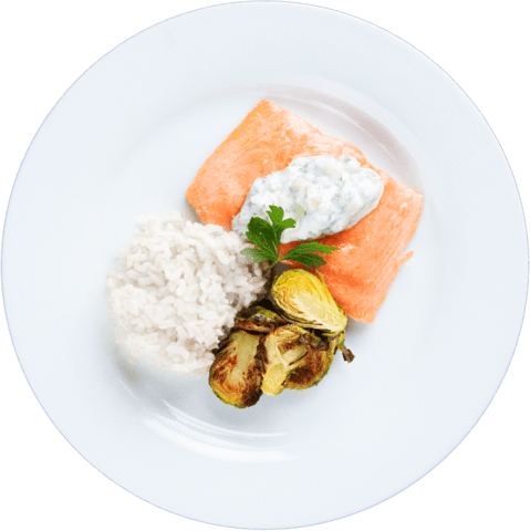 Tzatziki Salmon with Brussels Sprouts & UNCLE BEN'S® READY RICE® Original Long Grain