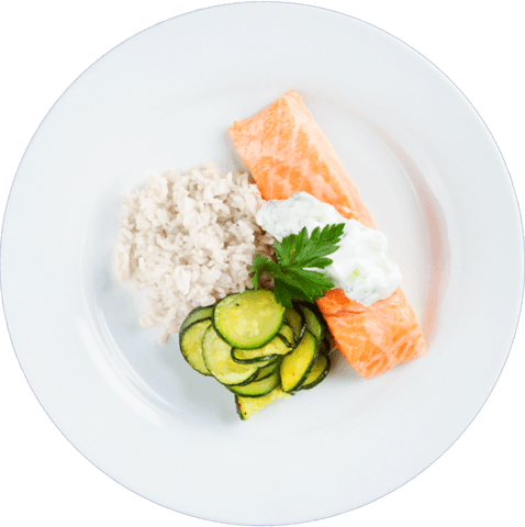 Tzatziki Salmon with Zucchini & UNCLE BEN'S® READY RICE® Jasmine Rice