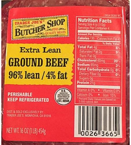Trader Joe's Butcher Shop Extra Lean Ground Beef - 112 g