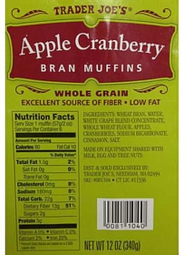 Trader Joe's Apple Cranberry Bran Muffins - 57 g