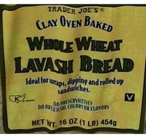 Trader Joe's Clay Oven Baked Whole Wheat Lavash Bread