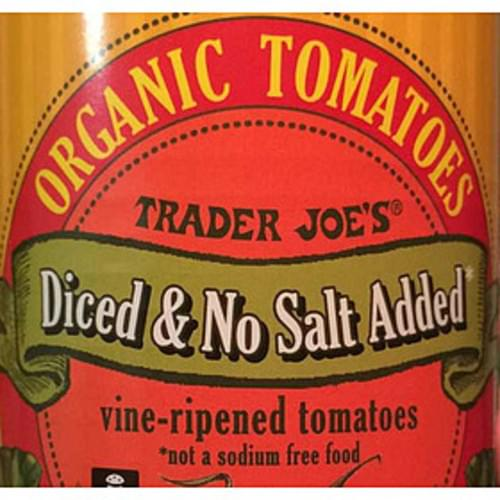 Trader Joe's Diced & No Salt Added Organic Tomatoes - 130 g