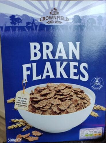 crownfield Flocos de trigo, enriquecidos com farelo. Bran flakes cereal - 500 g