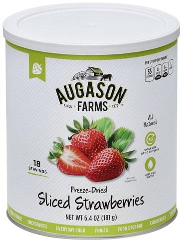 Augason Farms Freeze-Dried, Sliced Strawberries - 6.4 oz