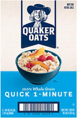 Quaker 100% Whole Grain Quick 1-Minute Oatmeal - 128 oz