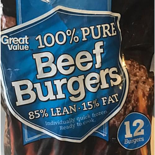 Great Value Pure Beef Burger - 113 g