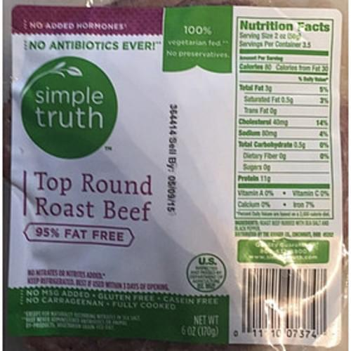 Simple Truth Top Round Roast Beef - 56 g