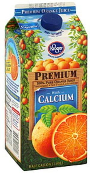 Kroger Premium, with Calcium Orange Juice - 0.5 gl