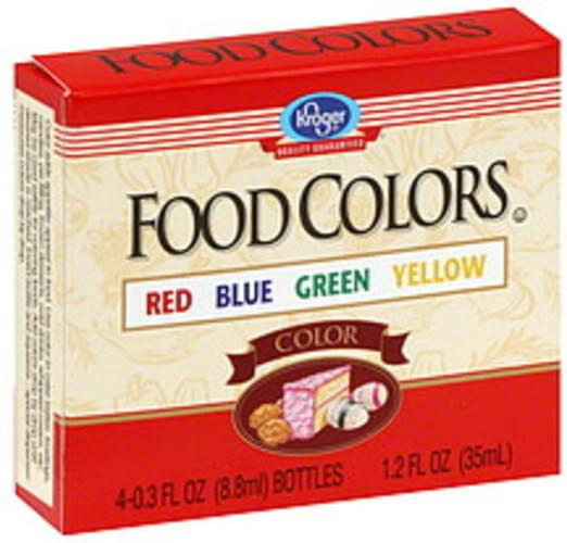 Kroger Red, Blue, Green, Yellow Food Colors - 4 ea ...