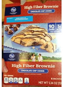 Kroger Chocolate Chip Cookie High Fiber Brownie