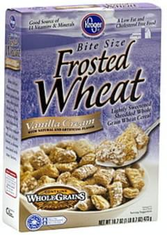 Kroger Cereal Frosted Wheat, Bite Size, Vanilla Cream
