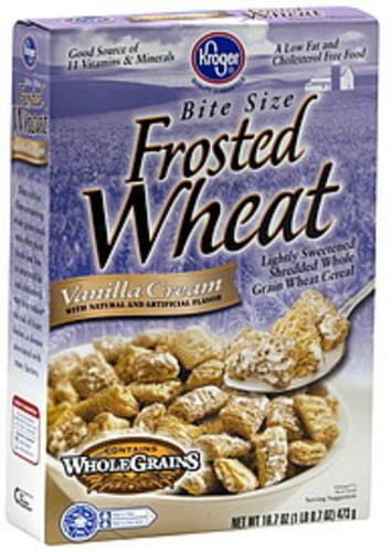 Kroger Frosted Wheat, Bite Size, Vanilla Cream Cereal - 16.7 oz
