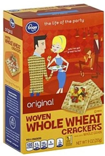 Kroger Woven Whole Wheat, Original Crackers - 9 oz