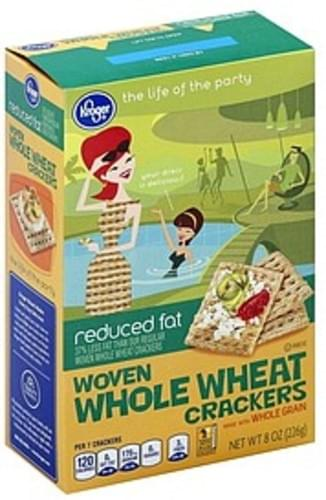 Kroger Woven Whole Wheat, Reduced Fat Crackers - 8 oz
