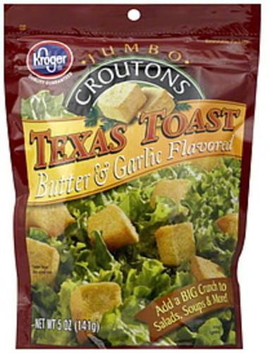 Kroger Jumbo, Texas Toast Butter & Garlic Flavored Croutons - 5 oz