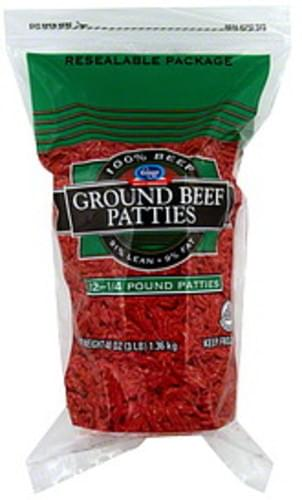 Kroger Ground Beef Patties - 12 ea
