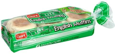 Giant Lite English Muffins - 6 ea