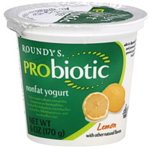 Roundys Nonfat, Light, Lemon Yogurt - 6 oz
