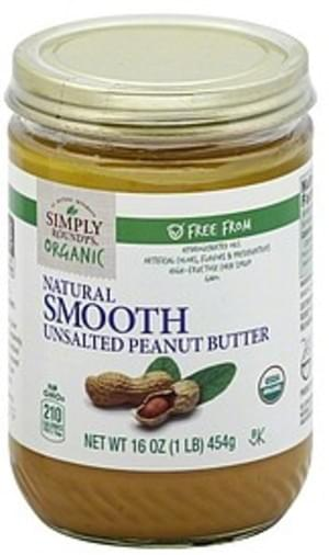 Roundys Unsalted, Natural Smooth Peanut Butter - 16 oz