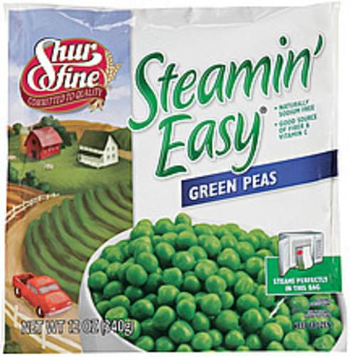 Shurfine Steamin' Easy Green Peas - 12 oz