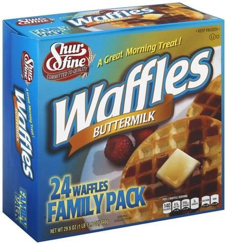 Shurfine Buttermilk, Family Pack Waffles - 24 ea