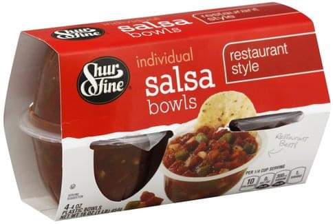 Shurfine Individual, Restaurant Style Salsa Bowls - 4 ea