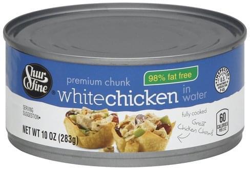 Shurfine White, in Water, Premium Chunk Chicken - 10 oz