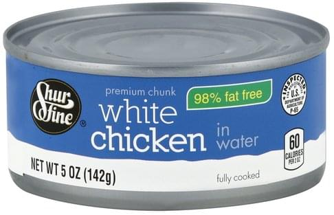 Shurfine White, Premium Chunk, in Water Chicken - 5 oz