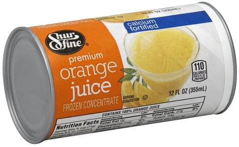 Shurfine Premium, Calcium Fortified Orange Juice - 12 oz