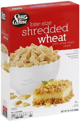Shurfine Shredded Wheat, Bite-Size Cereal - 16.4 oz