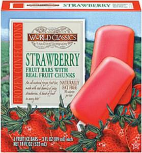 World Classics Trading Company Fruit Ice Bars Strawberry w/Real Fruit Chunks 3 Oz