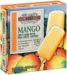 World Classics Trading Company Fruit Ice Bars Mango W/Fruit Chunks 3 Oz