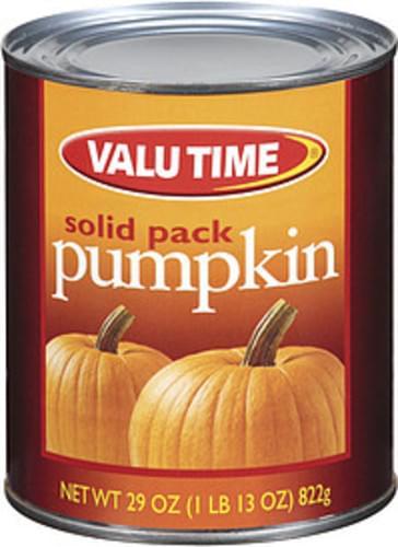 Valu Time Solid Pack Pumpkin - 29 oz