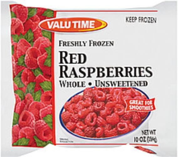 Valu Time Freshly Frozen Whole & Unsweetened Red Raspberries - 10 oz