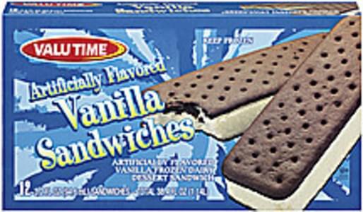 Valu Time Frozen Dairy Dessert Sandwiches Vanilla