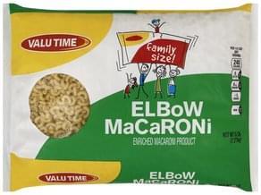 Valu Time Macaroni Elbow, Family Size!