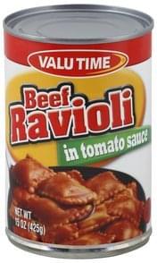 Valu Time Ravioli Beef, in Tomato Sauce