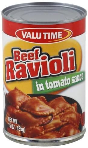 Valu Time Beef, in Tomato Sauce Ravioli - 15 oz