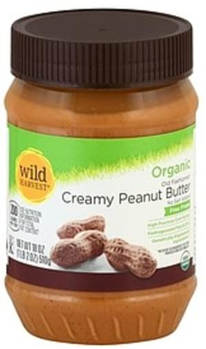 Wild Harvest No Salt Added, Organic, Creamy, Old Fashioned Peanut Butter - 18 oz