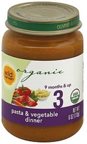 Wild Harvest 3 (9 Months & Up) Pasta & Vegetable Dinner - 6 oz