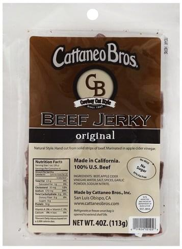 Cattaneo Bros Cowboy Cut Style, Original Beef Jerky - 4 oz