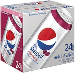 Pepsi Diet Pepsi Wild Cherry Soda Cherry Cola 12 Fl Oz 24 Count Cans