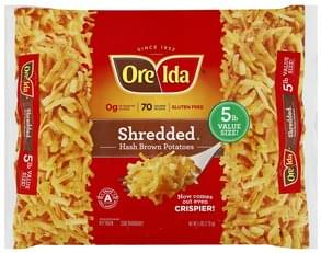 Ore Ida Hash Brown Potatoes Shredded, 5 lb Value Size!