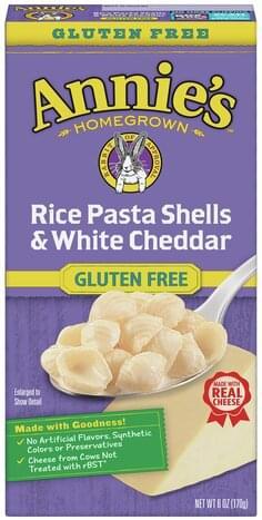 Annie's White Cheddar, Gluten Free Rice Pasta Shells - 6 ...
