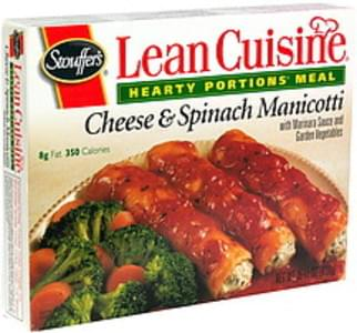 Lean Cuisine Cheese & Spinach Manicotti with Marinara Sauce and Garden Vegetables