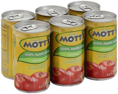 Motts Apple, Original 100% Juice - 6 ea